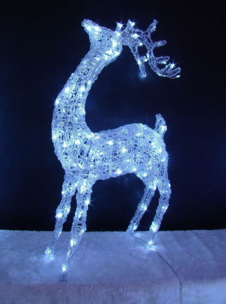 LED Acrylic Head Up Reindeer Standing Light Up Indoor Outdoor Christmas Xmas