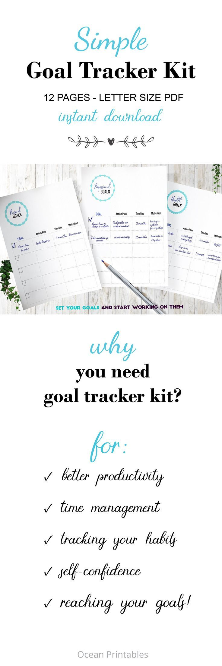 Productivity And Success Planner Goal Worksheet Life Planner Goal