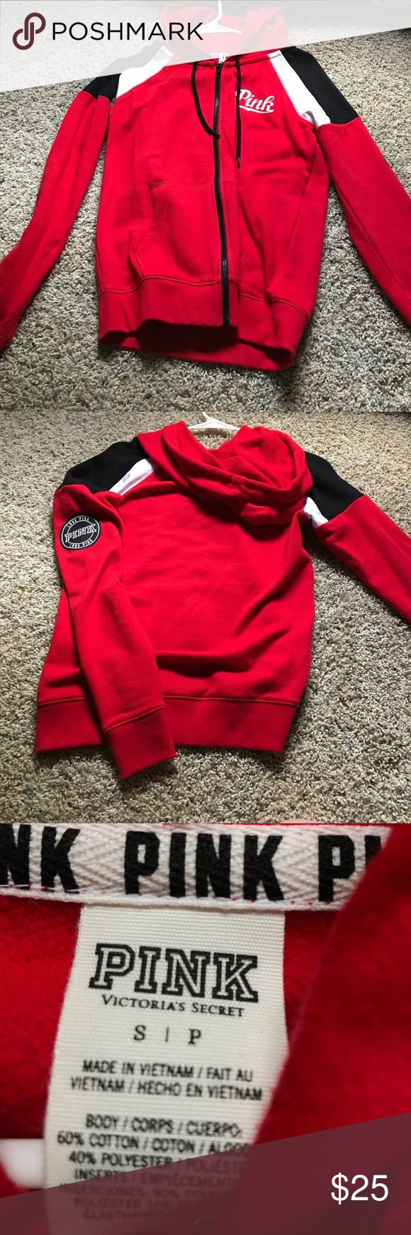 VICTORIA'S SECRET PINK Red zip-up hoodie Super soft, super comfy, and only worn twice! In amazing condition. PINK Victoria's Secret Tops Sweatshirts & Hoodies