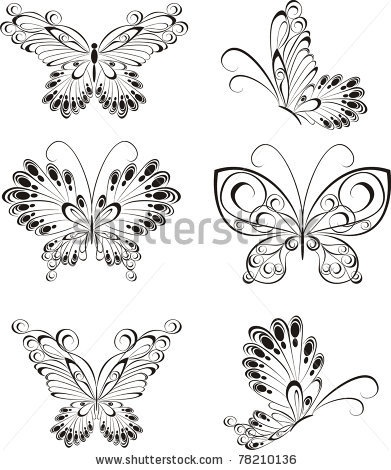 stock vector : Set of black and white butterflies