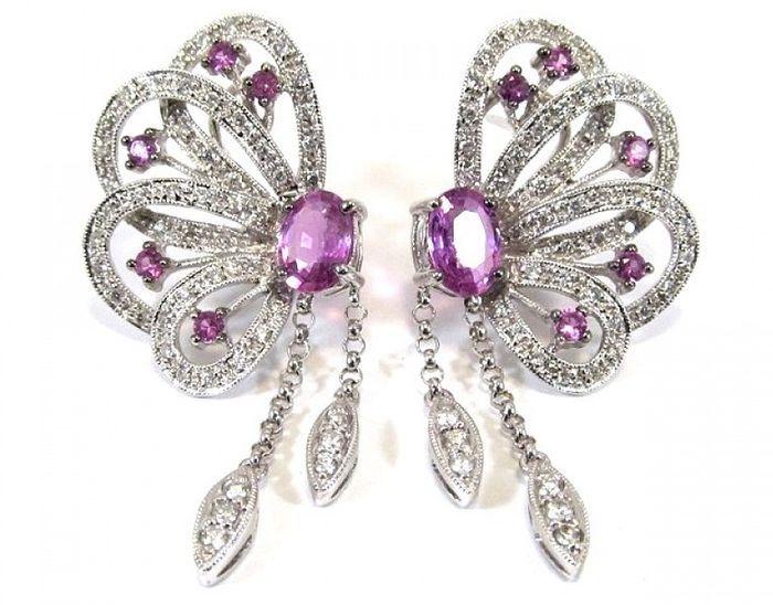 Online veilinghuis Catawiki: Gouden oorbellen met diamanten en roze saffieren