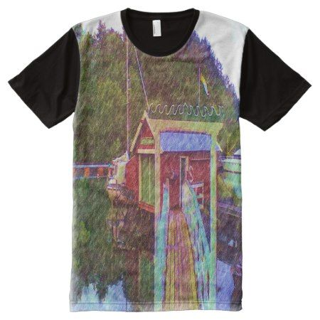 small house and sea Painting photo All-Over-Print T-Shirt - click/tap to personalize and buy