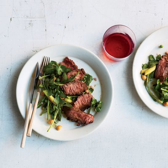 The flat iron steak, which sits on the shoulder blade next to the teres major, is great for marinating and grilling.
