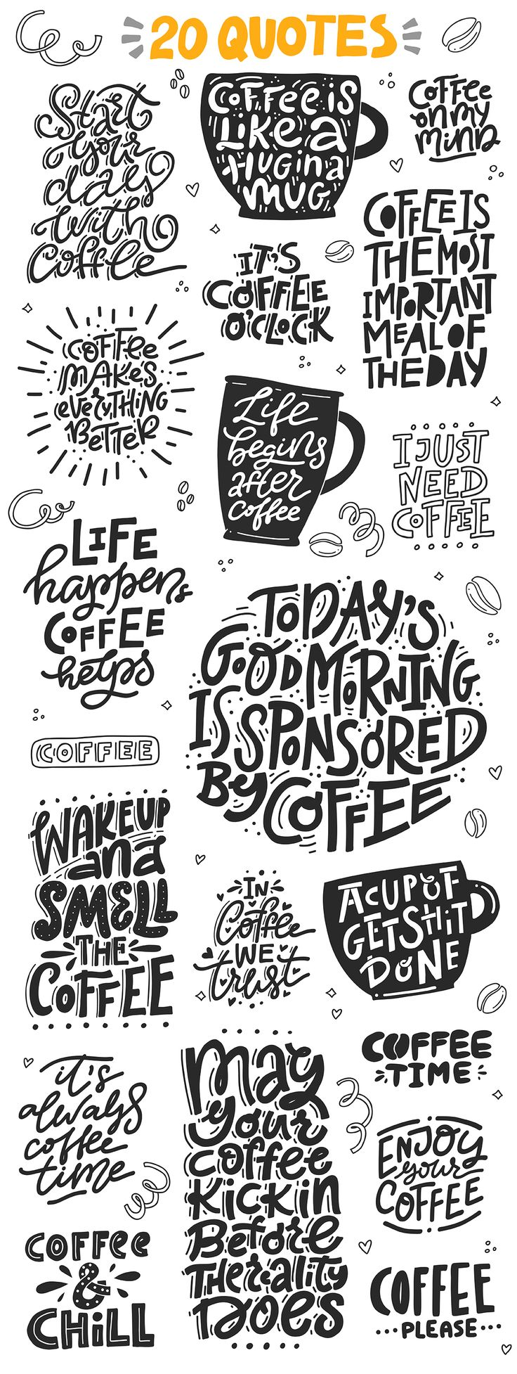 Can you live without coffee? I for sure can not :) Coffee Lovers is a big set of hand drawn lettering quotes and clipart that will help you decorate coffee mugs, bags, t-shirts and cards. It will be perfect for coffee shops. Coffee lettering, coffee quotes, coffee cups, lettering.