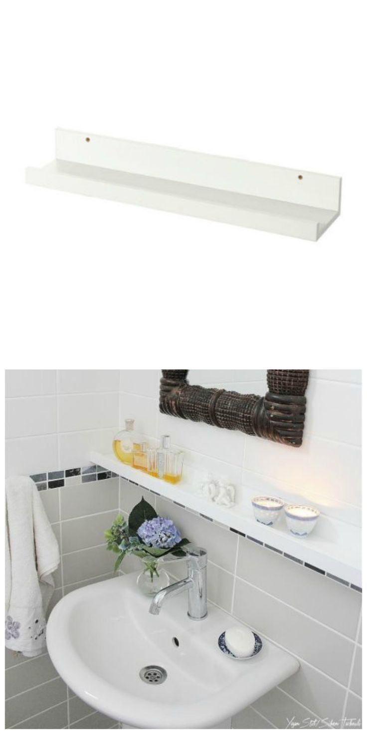 The Mosslanda picture ledge makes for modern bathroom storage in this IKEA hack!
