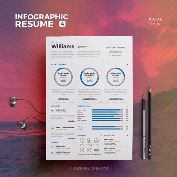 Infographic Resume Vol. 4  Word and Indesign by TheResumeCreator