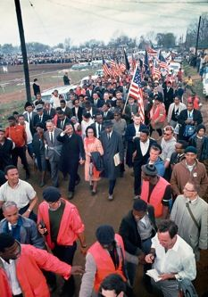 King and other civil-rights leaders enter Montgomery, on a 1965 march. This picture links to a New Yorker article on the development of the Voting Rights Act, with tons of detail on the broader Civil Rights movement. Truly the most comprehensive article I've ever read on the subject. MUST read.