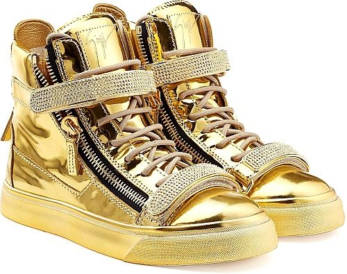 Giuseppe Zanotti Shoes - Coated in glossy metallic leather, these gold high-top sneakers could be from no-one other than Giuseppe Zanotti. Note how the chunky midsole adds height, and tough zippers add attitude. - #giuseppezanottishoes #goldshoes