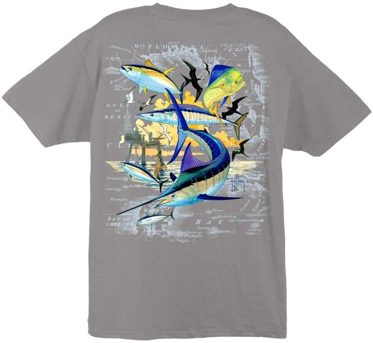 Guy Harvey Shirts - Guy Harvey Oil Rig Collage Men's Back-Print Tee w/ Pocket in White, Aqua Blue or Graphite, $18.95 (http://www.guyharveyshirts.com/guy-harvey-atlantic-oil-rig-collage-mens-back-print-tee-w-pocket-in-white-aqua-blue-or-graphikte/)