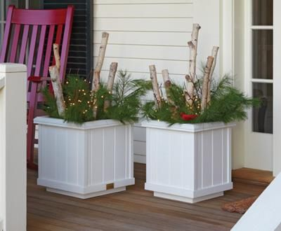 "Rockport Planters - Slightly smaller planters that fit perfectly on your front porch or between garage doors. Crafted from solid cellular vinyl to look like 3 5/8"" boards. Will not peel or rot - no liner necessary! Flat packed for economical shipping and very easy to assemble. Pre-drilled holes for fastening or if you would like to disassemble for off-season storage planter will stay together without fastening. Two sizes, Small: 16"" sq., 17 1/2"" H. Inside measurement is 11 13/16"" sq. a"