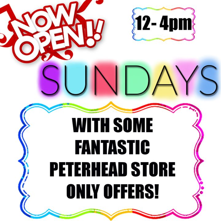 Just a reminder our Peterhead store is now open Sundays for all your vaping needs! Burnt coil, smashed clearomizer, or ran out of e-liquid? We've got you covered!   We're open from 12pm until 4pm, and better yet we even have some unique, on the day only offers too!  So why not drop in by and stock up?