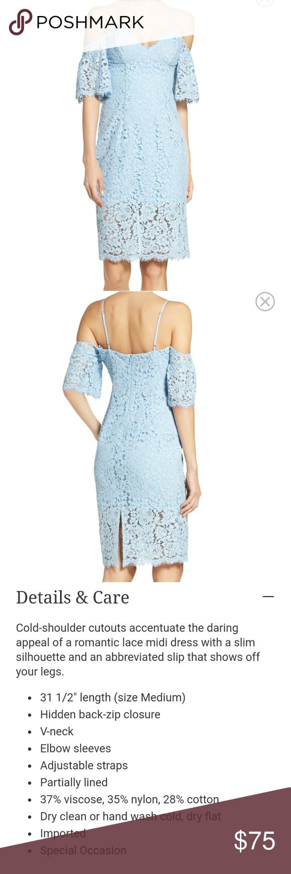 Sale: Bardot Karlie cold shoulder lace midi dress See 3rd image for dress details. Only worm to a wedding 1x. Looks new. Perfect condition. Gorgeous and comfy dress. True to size I think. Light ice blue and size medium. Bought at Nordstrom Bardot Dresses Midi