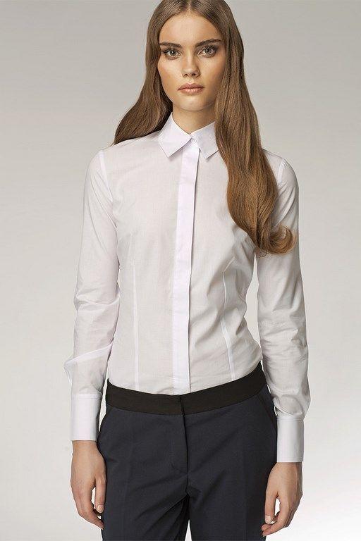 Biurowa biała koszula damska z mankietami