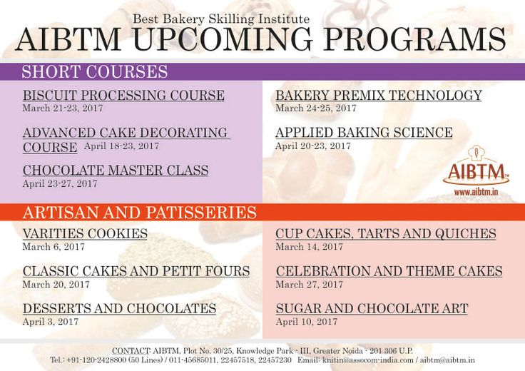 AIBTM Best Bakery Skilling Institute offering short courses on #Bread #Biscuit #Cake #Cupcakes #Tarts #SugarArt #Chocolate #Desserts etc..