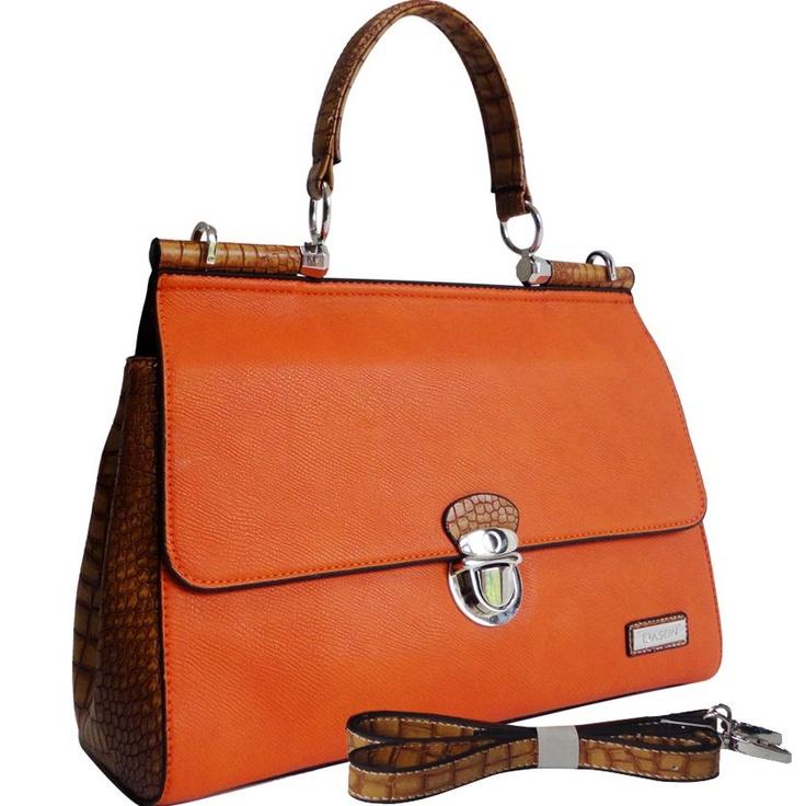 Dasein Croco Texture Briefcase Style Satchel Bag w/ Front Buckle (Orange Tan Trim)