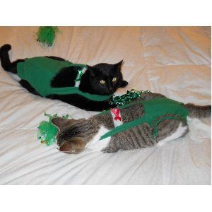 Joybies Green Christmas Cat Piddle Pants (Sm)  for cats measuring 13-15 inches collar to tail base for $29.95 #onselz    Or email Joybies@aol.com   www.piddlepants.com