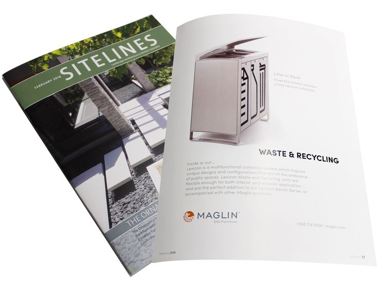 Maglin's #Lexicon trash and recycling was featured in the February 2016 Issue of Sitelines Magazine!