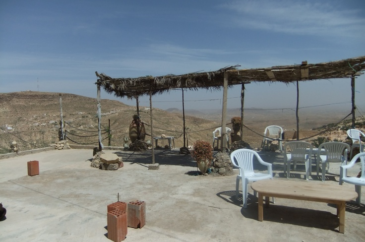 The roof terrace outside the bedroom in the mountain-cave in a village in North Africa