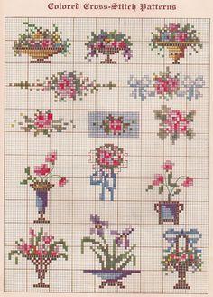 Free Vintage Colored Cross Stitch Pattern - Sentimental Baby: