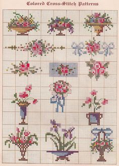 Free Vintage Colored Cross Stitch Pattern - Sentimental Baby: