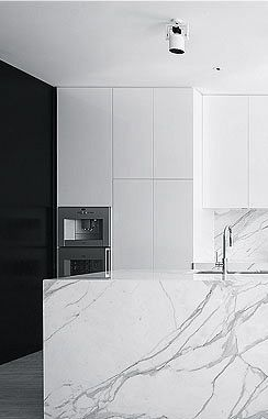 Kitchen inside the Cloverdale Residence in Melbourne by Travis Walton Architects.