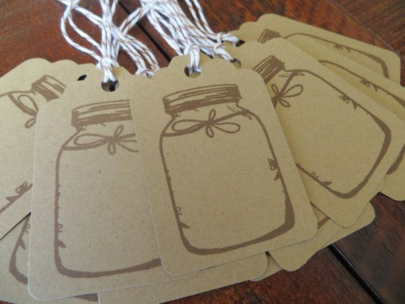 Kraft Mason Jar Gift Tags, Wedding Escort Cards, or Favor Tags! Add your date or initials for extra personalization! {$7.99} #etsy #wedding #favors #handmade #masonjar #tags