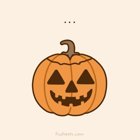 Pusheen the cat pops out of jackolantern! :) Adorable!!! :)