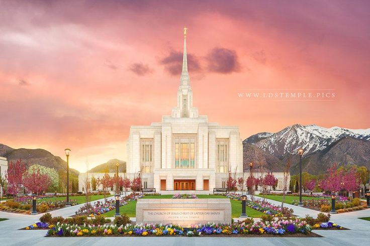 Ogden Temple The Morning Breaks - The sun rises behind the Wasatch Mountains near the Ogden Utah Temple.