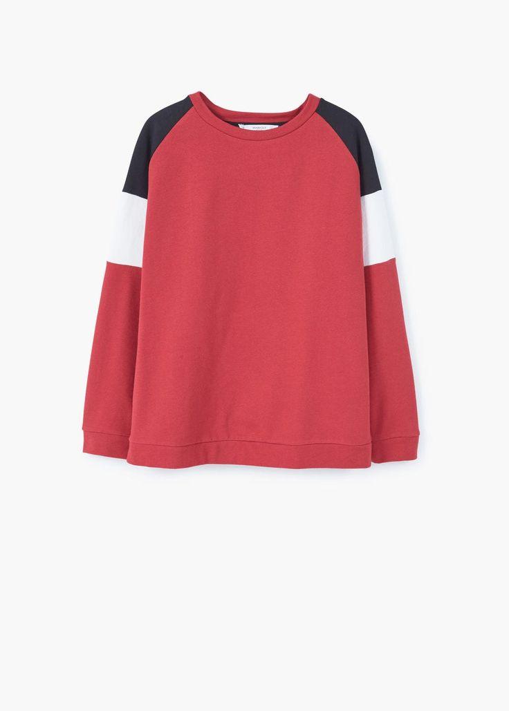 Contrast sleeve sweatshirt | MANGO