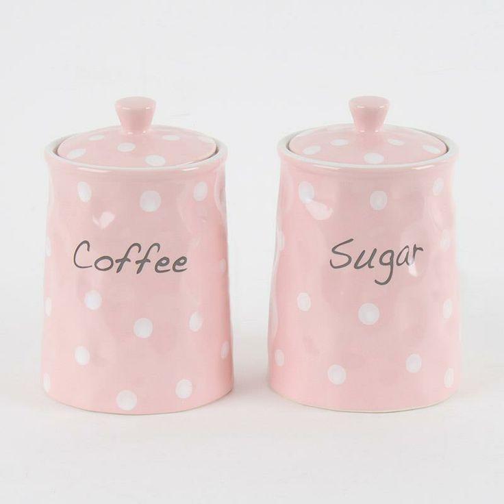 Cute porcelain coffee-sugar jar set in #pink www.inart.com