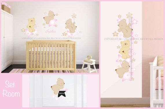 Stickers Muro Bambini.Set Room Baby Wall Decals Kit Growth Chart And Door Decal