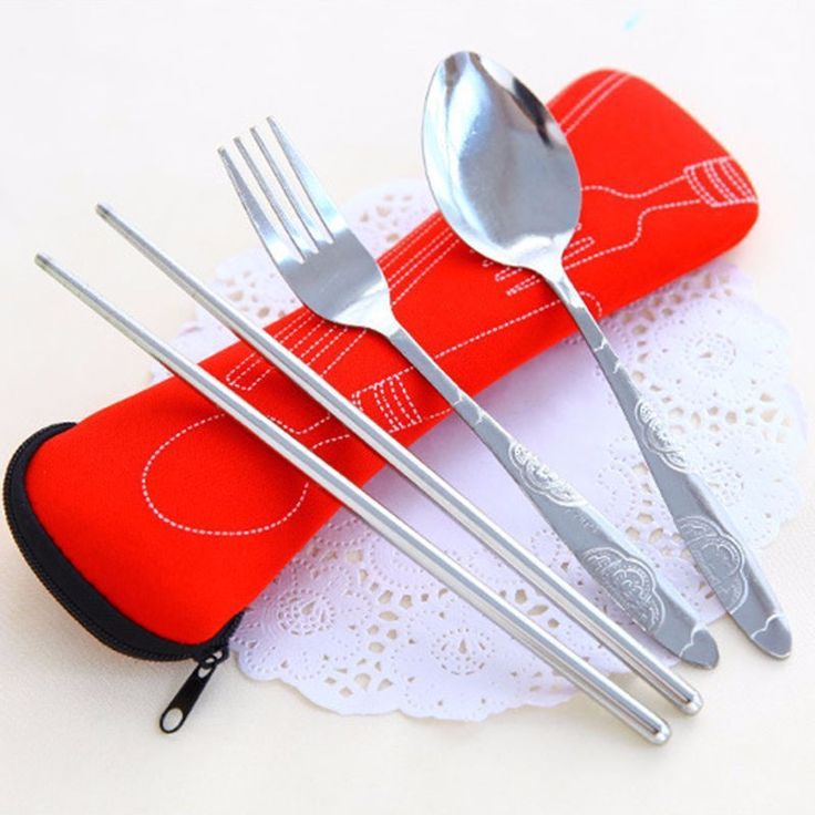 3pcs/lot Portable Stainless Steel Tableware Camping Bag Picnic Juegos De Vajillas Lunch Box Lancheira Fork Spoon Chopsticks