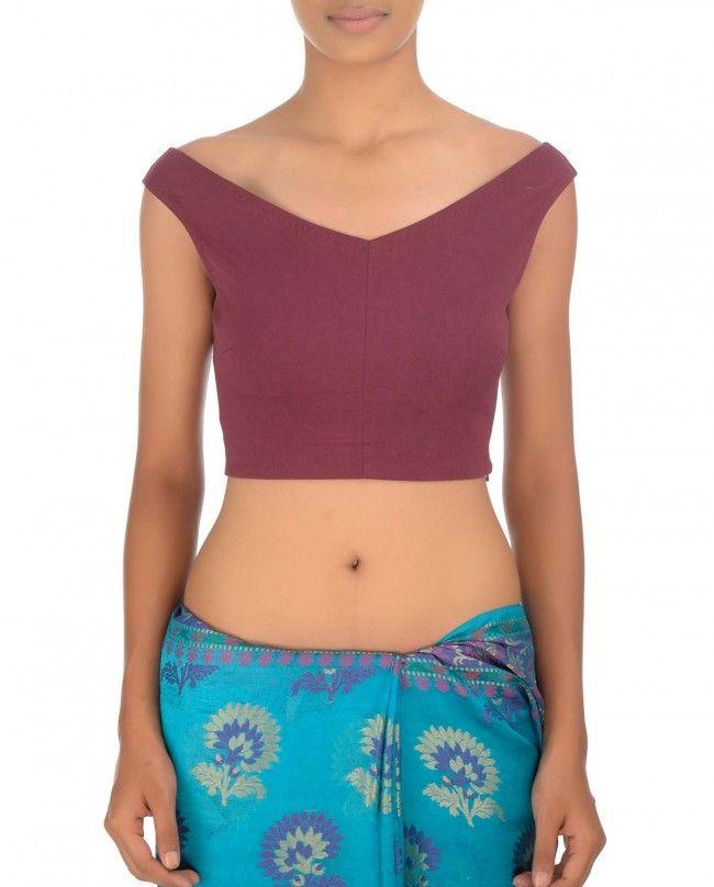 Wine Off Shoulder Blouse - Sari Blouses - Apparel