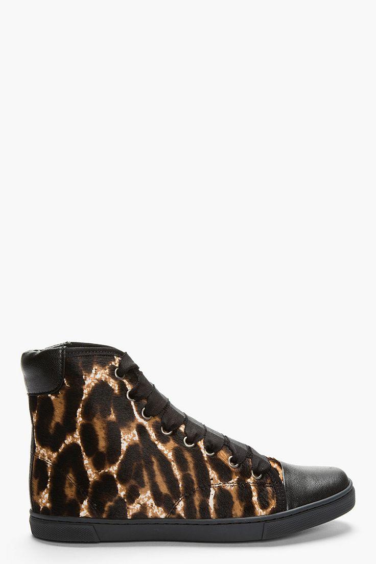 Lanvin Black Leopard Print Calf-hair Sneakers for women | SSENSE $623.00
