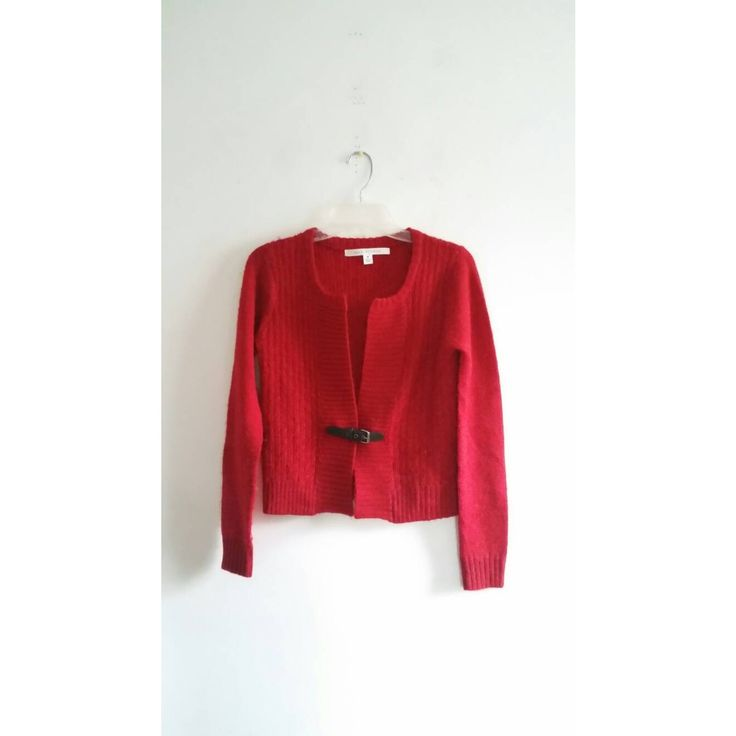 Vintage Max Studio Red Brown Leather Belted Knitted Thin Open Christmas Cardigan Sweater Sz Medium
