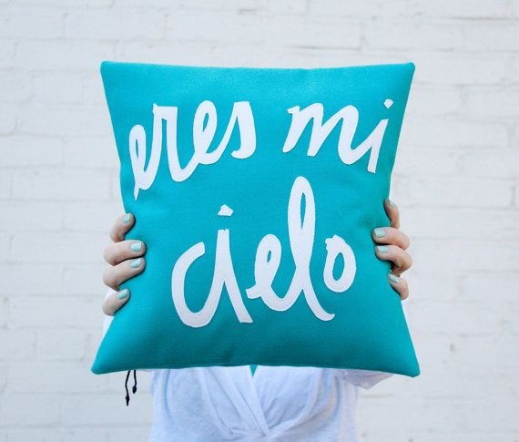 Teal and White Eres Mi Cielo Pillow - 12 x 12 inches #teal #pillow #spanish