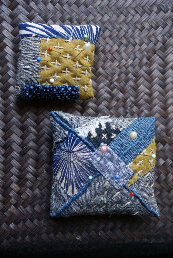handsewn pincushion in Japanese cottons and linen by lesamovar