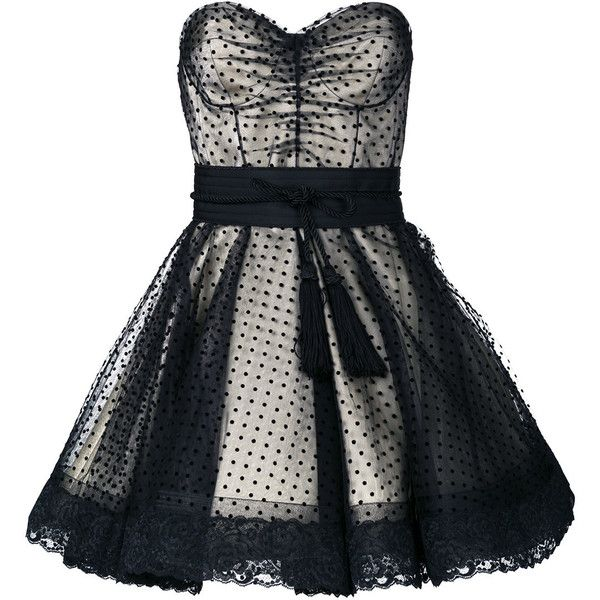 Marc Jacobs polka dot cocktail dress ($995) ❤ liked on Polyvore featuring dresses, black, polka dot dresses, lace cocktail dresses, flared skirt, skater skirt and circle skirts
