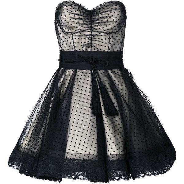 Marc Jacobs Polka Dot Cocktail Dress ($1,279) ❤ liked on Polyvore featuring dresses, waist belt, skater skirt, circle skirts, short dresses and short flared skirt