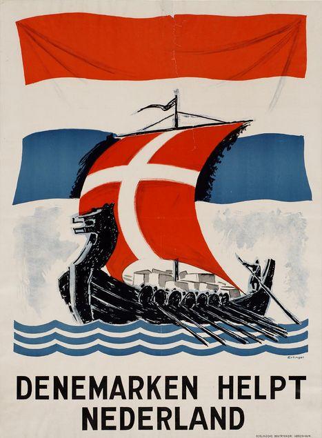 "Danish WWII propaganda poster, ""Denmark helps the Netherlands."""