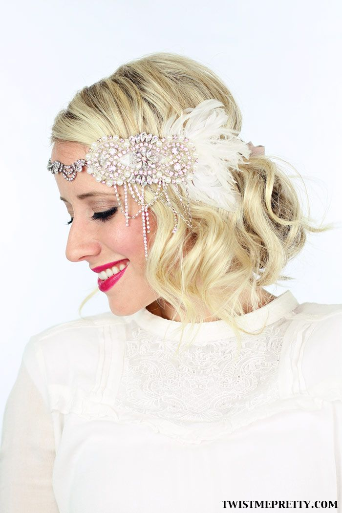 Look Number 1: Vintage 1920′s Curls The Great Gatsby Headband I'm wearing is from What a Betty....