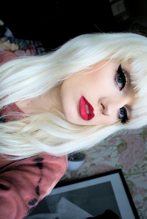 red lipstick blonde hair blue eyes - Google Search