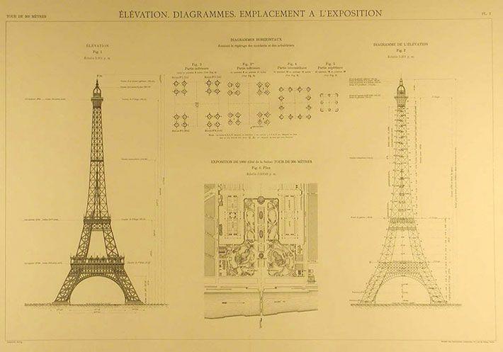 Gustave Eiffel's original blueprints taken from the book La Tour de 300 mètres, Ed. Lemercier, Paris 1900