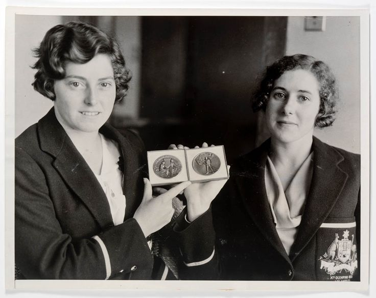 Frances Bult and Eileen Wearne with their Olympic commemorative medals, Los Angeles Olympic Games, 1932. Eileen Wearne Papers, State Library of New South Wales: http://www.acmssearch.sl.nsw.gov.au/search/itemDetailPaged.cgi?itemID=430692