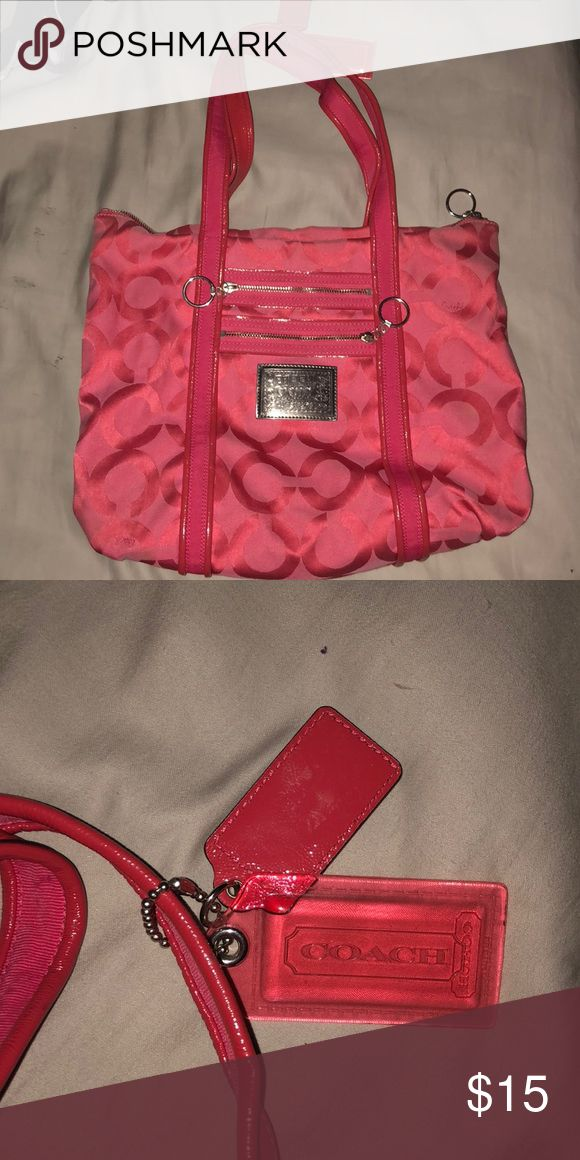 Pink COACH purse Bright pink purse, medium to large in size , two pockets on the outside, one pocket on the inside Coach Bags Totes