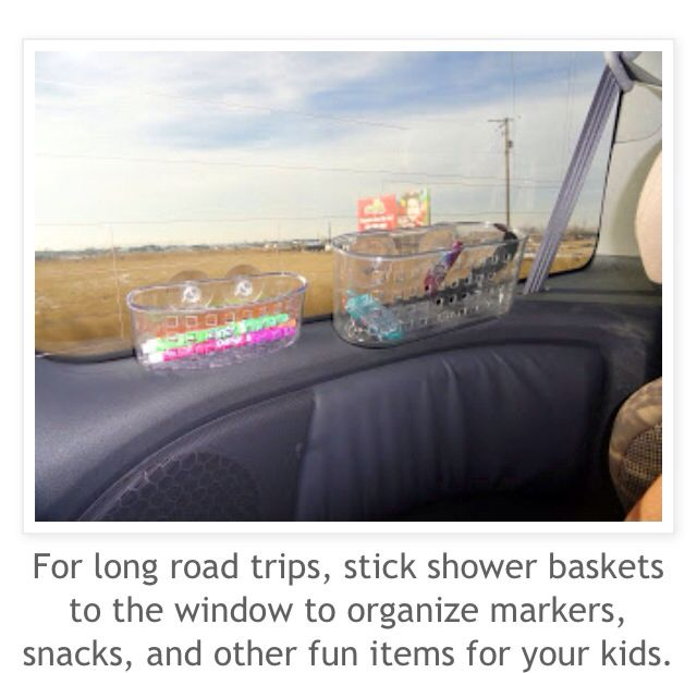 Keep the car organized on road trips with easy to reach holders for kids! Super smart and cheap!
