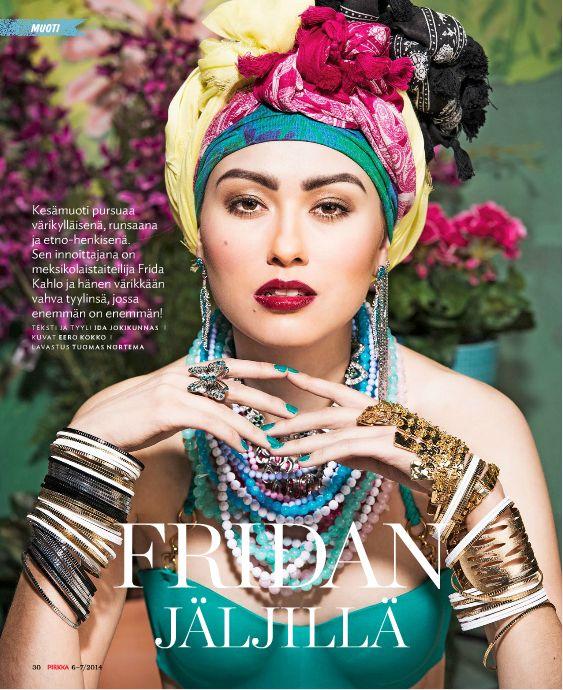 @Pirkka  Summer fashion inspired by Frida Kahlo Photo for Pirkka-magazine by Eero Kokko, AD: Anne Ala-Jokimäki. Background by Tuomas Nortema Style, set up, make-up, hair  fashion story by Ida Jokikunnas