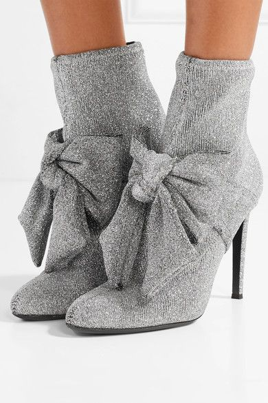 Heel measures approximately 110mm/ 4.5 inches Silver stretch-knit Pull on Made in ItalySmall to size. See Size & Fit notes.
