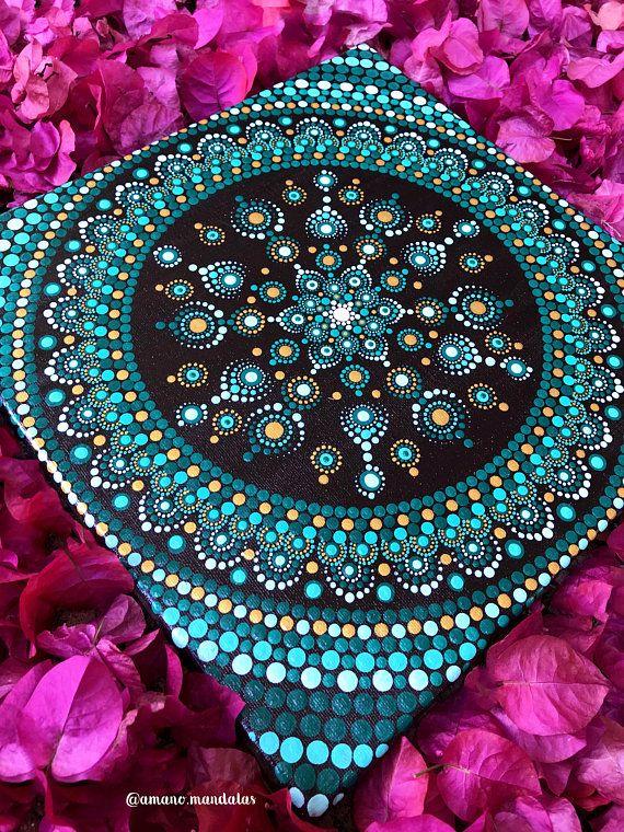 Green Peaceful Mandala Canvas | Dot Painting | Mandala