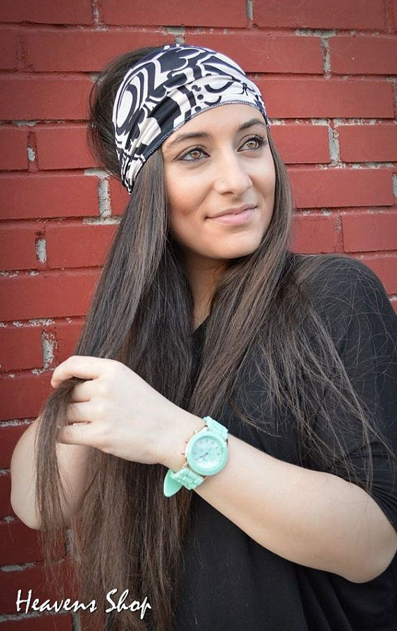 Jersey Turban Hair Wrap Double Colored Turban Black by HeavensShop